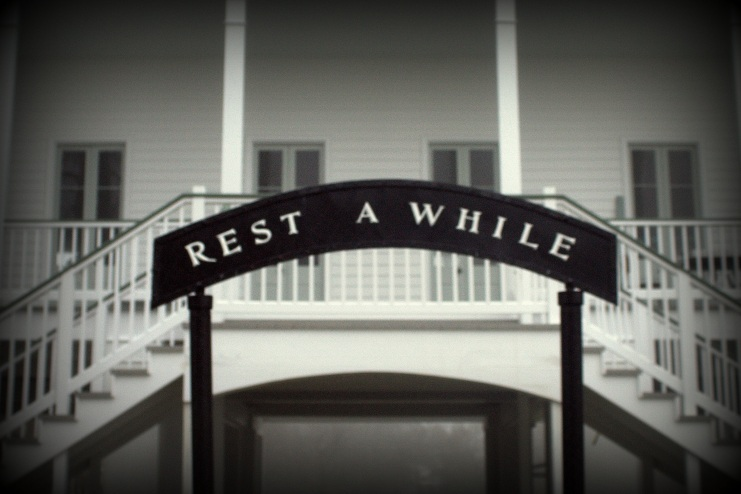 rest a while sign